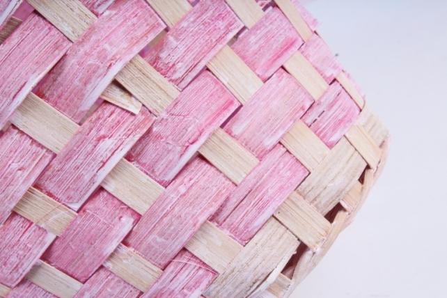 Корзина плетеная (бамбук) - Круг  (розовая) 1741
