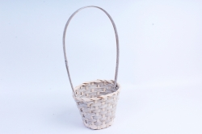 Корзина плетеная (бамбук) - Круг  (серая) 1826