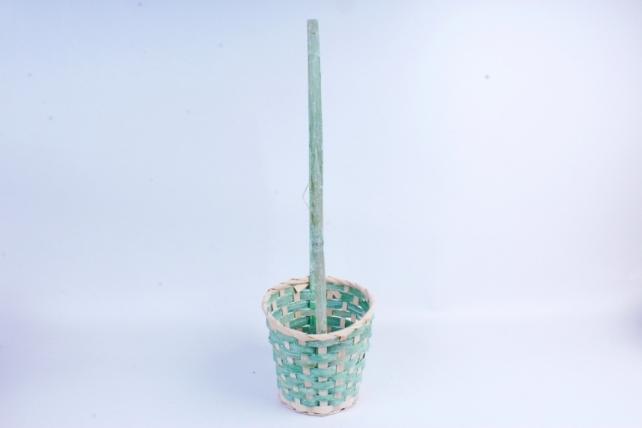 Корзина плетеная (бамбук) - Круг  (зеленая) 1734