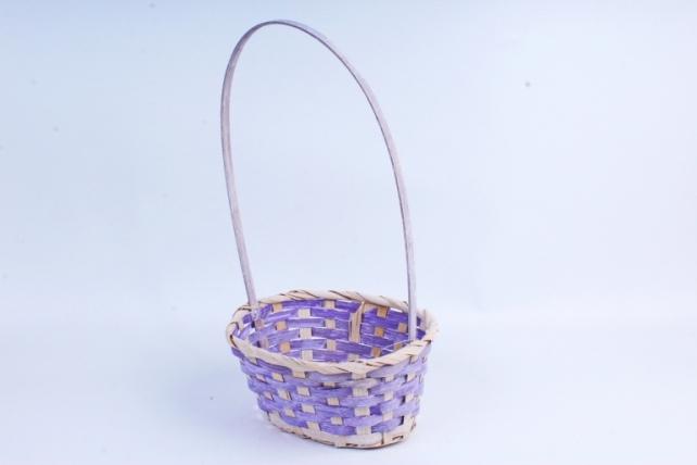 Корзина плетеная (бамбук) - Круг  (фиолетовая) 1673