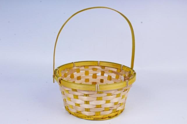 Корзина плетеная (бамбук) D21 H10 HH24 желтый 1180