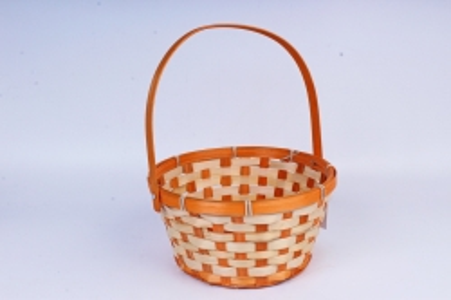 Корзина плетеная (бамбук) D21 H10 HH24 оранжевый  1197