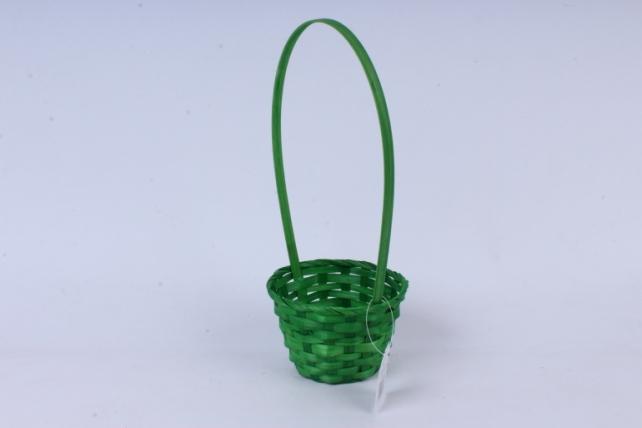 Корзина плетеная (бамбук),  зеленая  0527