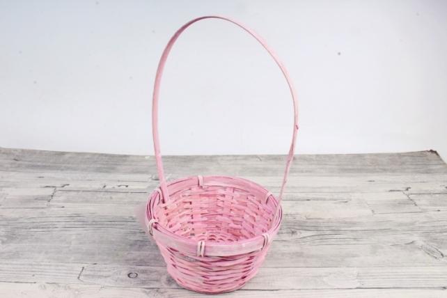 Корзина плетеная (бамбук),  светло-розовый  3751 (М)