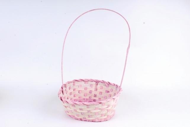 Корзина плетеная (бамбук),  розовый 4450 (Н)