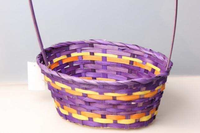 Корзина плетеная (бамбук) фиолетовая, d=30х22, h=13/49см