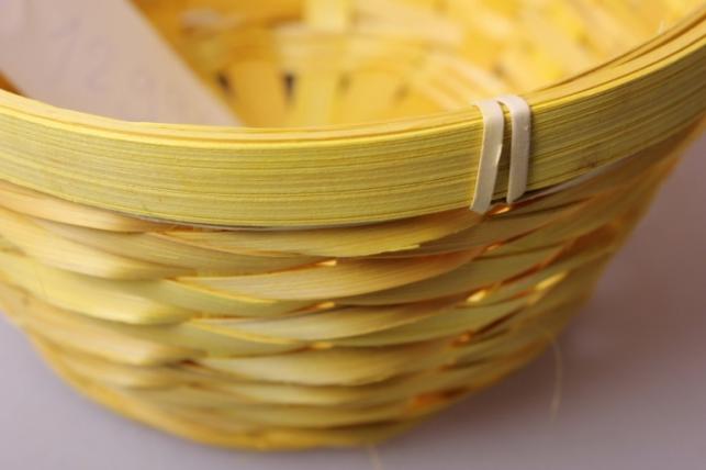 корзина плетеная (бамбук) желтая d=17, h=10,5/33см 6915