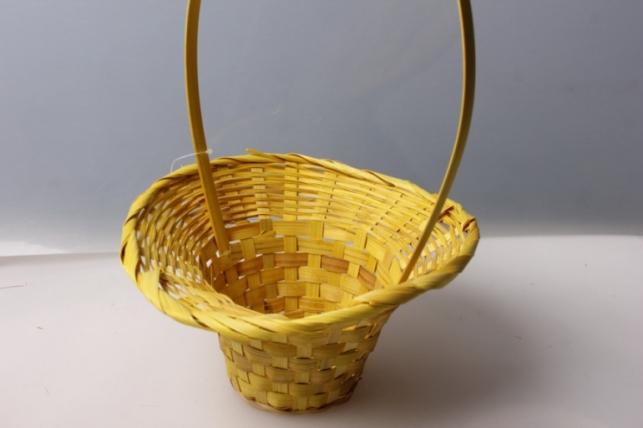Корзина плетеная (бамбук) желтая d=20, h=9/28 см 4378