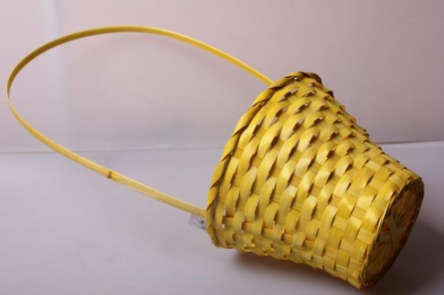 Корзина плетеная (бамбук) жёлтый, d=23, h=17/53см 3630