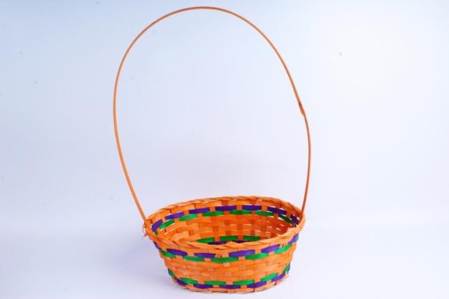 Корзина плетеная (бамбук),  оранжевая  0664