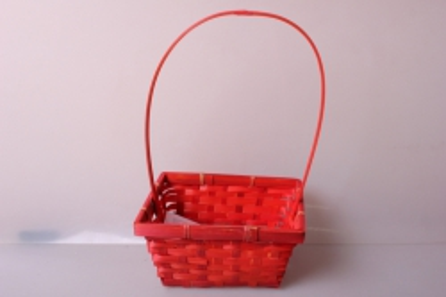 Корзина плетеная (бамбук) красная d=19x14,5, h=9/37см 7103