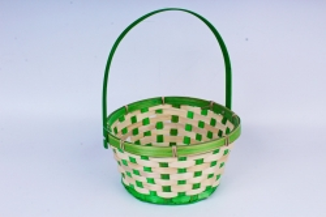 Корзина плетеная (бамбук) Круг D21 H10 HH24 зеленый1166