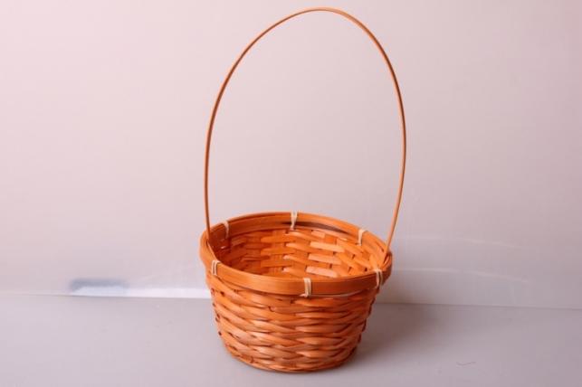 Корзина плетеная (бамбук) оранжевая d=17, h=10,5/33см 6922