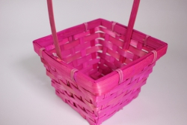 Корзина плетеная (бамбук) розовая квадрат 1шт - Код 7141
