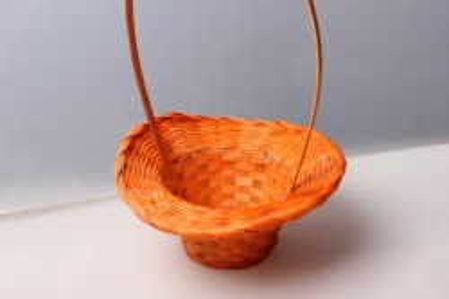 Корзина плетеная (бамбук) шляпа оранжевая d=20, h=9/28см 4415