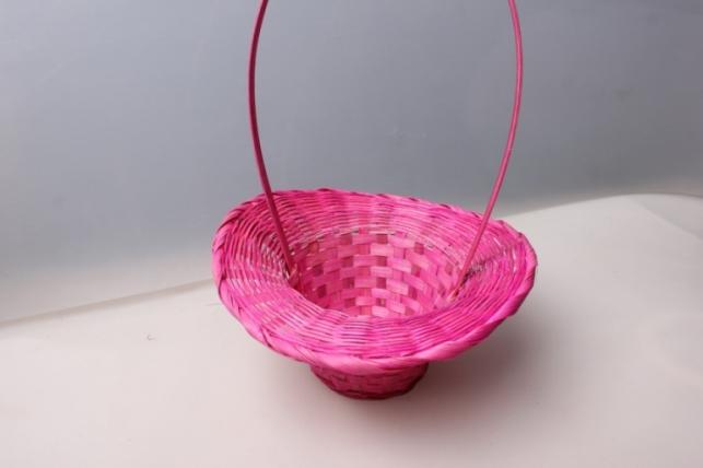Корзина плетеная (бамбук) шляпа розовая d=20, h=9/28 см 4354