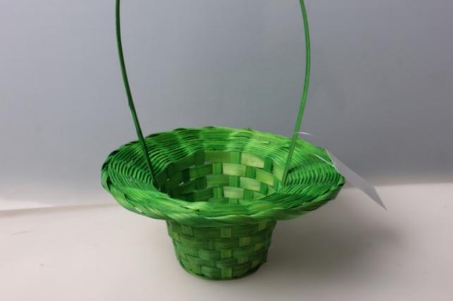 Корзина плетеная (бамбук) шляпа зеленая d=20, h=9/28 см 3562