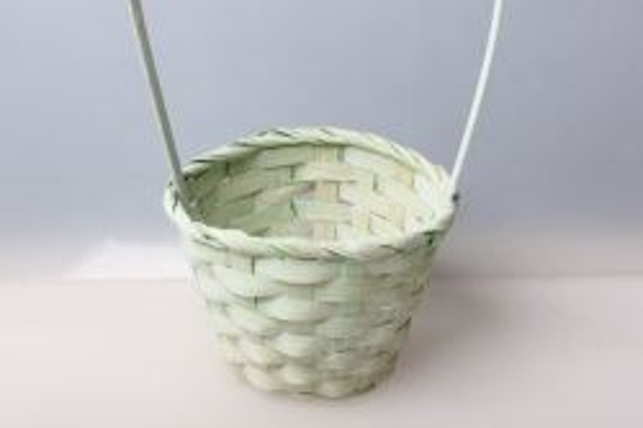 Корзина плетеная (бамбук) светло-зеленая, d=13, h=9,5/28см 5467