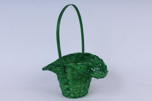 Корзина плетеная (бамбук),  зеленая  0718
