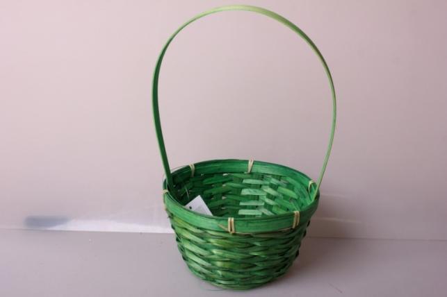 Корзина плетеная (бамбук) зеленая d=17, h=10,5/33см 6892
