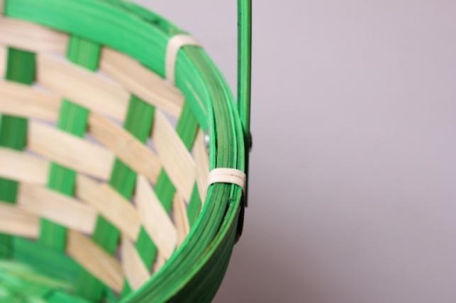 корзина плетеная (бамбук) зеленая d=21, h=10х24см 7172