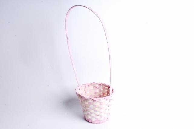 Корзина плетеная (бамбук)-Круг  Розовый 5923