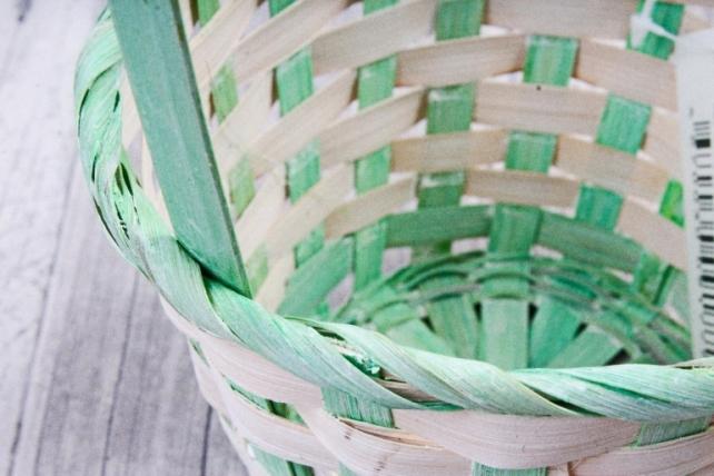 Корзина плетеная (бамбук)-Круг (зеленая) 1772