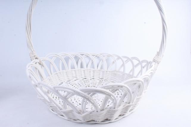 Корзина плетёная (ива) Круг ажурный белый D=63, H=20/58см КС-067