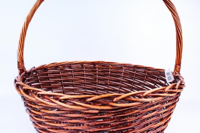 Корзина плетёная (ива) Круг коричневый D=63, H=22/58см КС-319