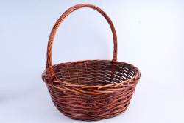 Корзина плетёная (ива) Круг коричневый D=51, H=20/53см КС-319