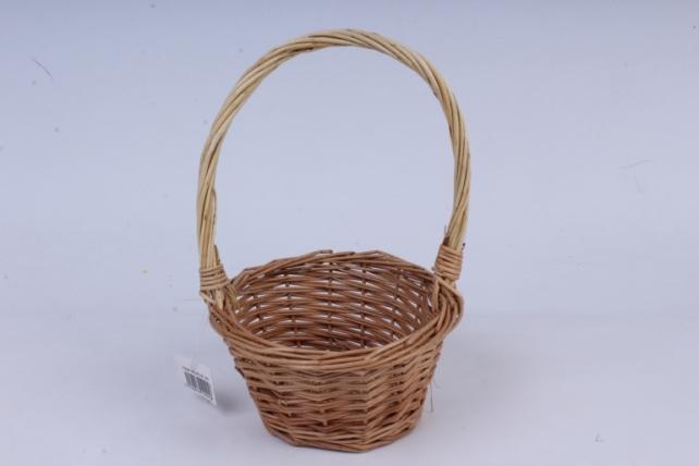 Корзина плетеная-(ива) Круг  натуральная d=16, h=9/28см  КС-081