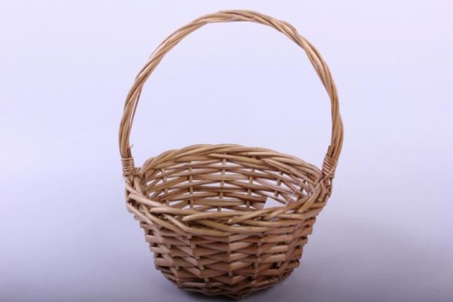 Корзина плетеная - (ива) круглая медовая d=17/17, h=9/23см (КС-048)