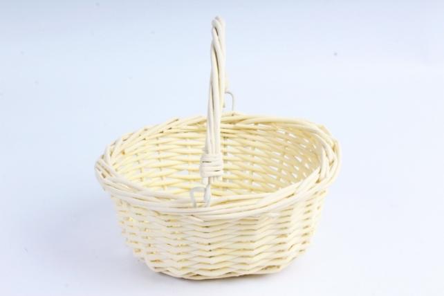 Корзина плетеная (ива) 1шт- Круг желтый с подвижной ручкой  КС-104