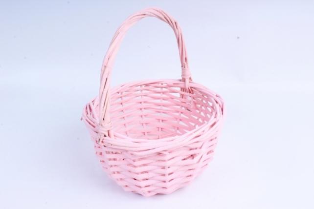 Корзина плетеная (ива) 1шт- Круг розовый КС-095