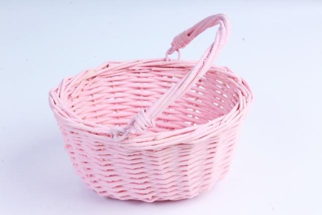 Корзина плетеная (ива) 1шт- Круг розовый с подвижной ручкой   КС-104