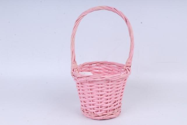 Корзина плетеная (ива) 1шт- Круг высокий розовая   КС-105