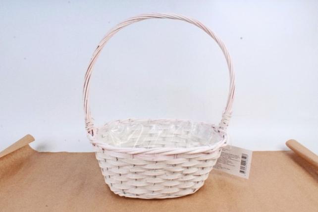 Корзина плетеная (ива), 1 шт., цв. белый с бледно-розовым декором 8528