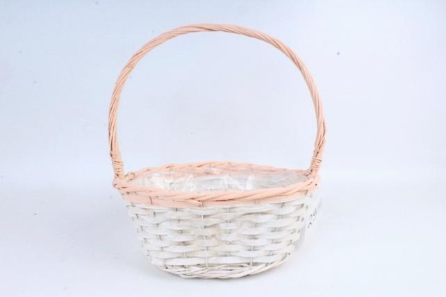 Корзина плетеная (ива),  1 шт., цв. белый с персиковым декором 8559