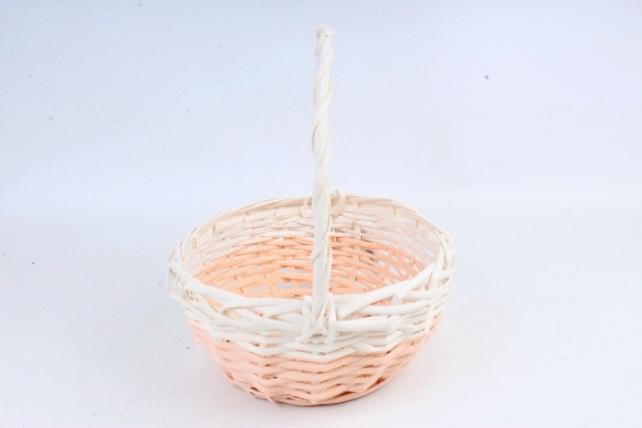 Корзина плетеная (ива), 1 шт., цв. персиковый с белым декором 8597
