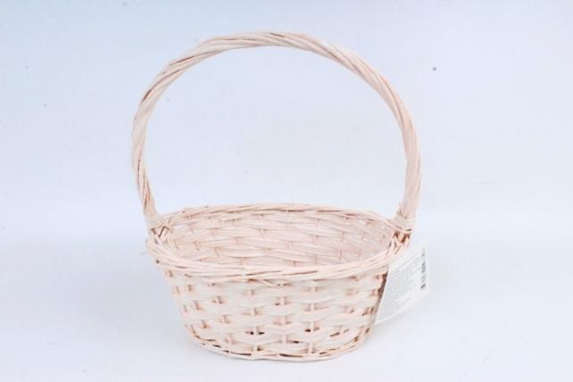 Корзина плетеная (ива),  1 шт., цв. бледно-розовый  8696