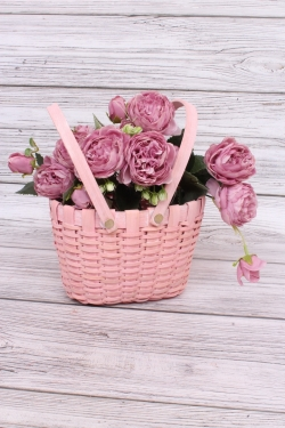Корзина плетеная из бересты две ручки овальная 20.5х13.5 h=13/25.5cm Розовый 5055Н