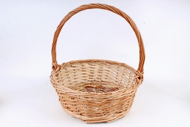 Корзина плетеная одиночная (ива) - Круг натуральный   (МА)
