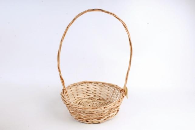 Корзина плетеная одиночная (ива) - Круглая натуральная  (МА)