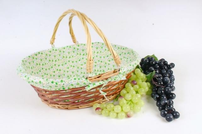 Корзина плетеная одиночная (ива) - Овал с декором, 2 ручки