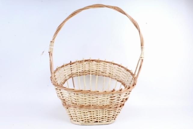 Корзина плетеная одиночная (ива) - Овал скос лоза лакированная  (Ма)