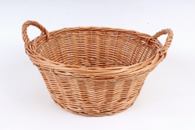 Корзина плетеная одиночная (ива) - Плошка круглая с ручками  (МА)