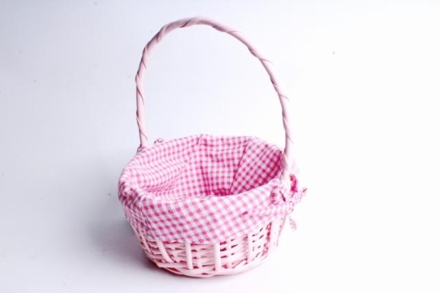 Корзина плетеная 1шт (ива)- Круг Розовый с вкладышем    1062