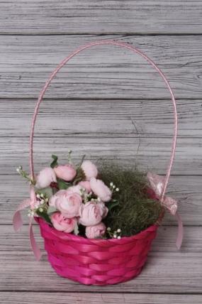 Корзина плетенная (бамбук) ярко-розовый. Арт. 4640108809332