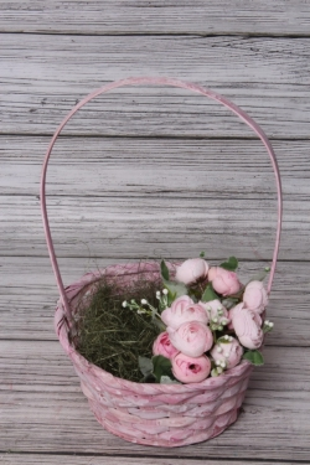 Корзина плетенная (бамбук),   розовый. Арт. 4640108809387 М