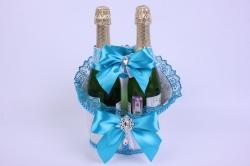 Корзина под две бутылки шампанского (большая) - белая с бирюзовой лентой